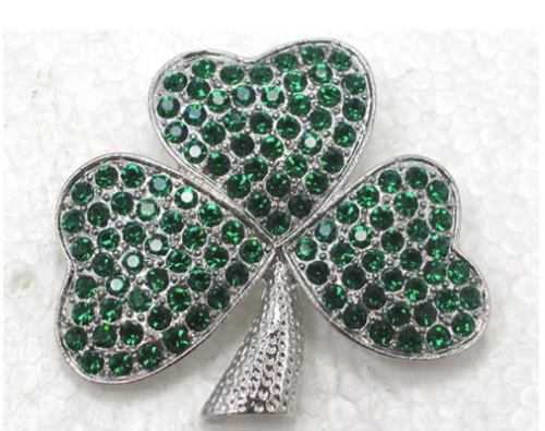 Shamrock Brooch with Rhinestones