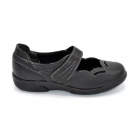 Wide Fitting Velcro Close Ladies Shoe Black
