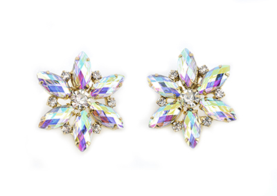 Flower Earrings - AB Diamantes