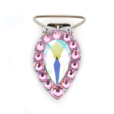 Pear Competition Number Clip - Light Rose Crystals