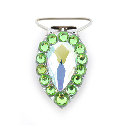 Pear Competition Number Clip - Peridot Crystals
