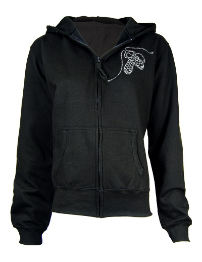 Zipped hoodie with diamante Irish dance pumps motif