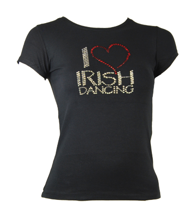 T-Shirt with 'I Love Irish Dancing' diamante motif