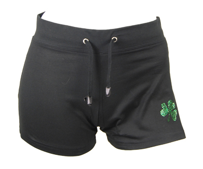 Irish dance shorts with shamrock motif and 'Dance Irish' on rear