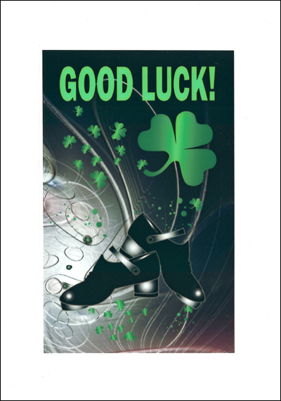 Good Luck Card with jig shoes & green shamrocks