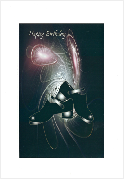 Happy Birthday Card with jig shoe design and diamante finish