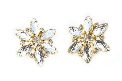 Flower Earrings - Crystal Clear Diamantes