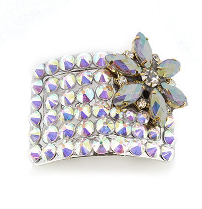 Jet Hematite Flower Diamante Buckle