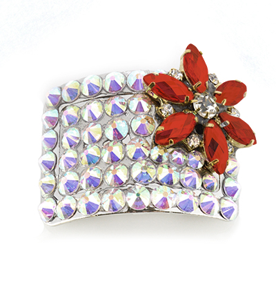 Red Flower Diamante Buckle