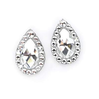 Crystal Clear Diamante Edged Pear Earrings