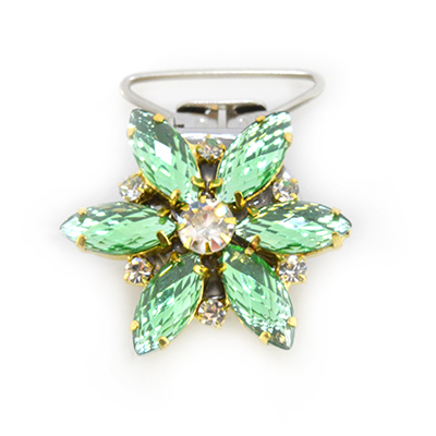 Flower Competition Number Clip - Light Green Crystals