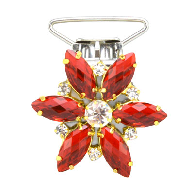 Flower Competition Number Clip - Red Crystals
