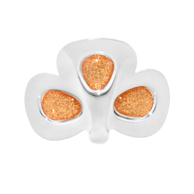 Sparkle Shamrock Buckles with an Orange Sparkle Center