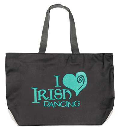 Tote Bag with Sparkly 'I Love Irish Dancing' Design